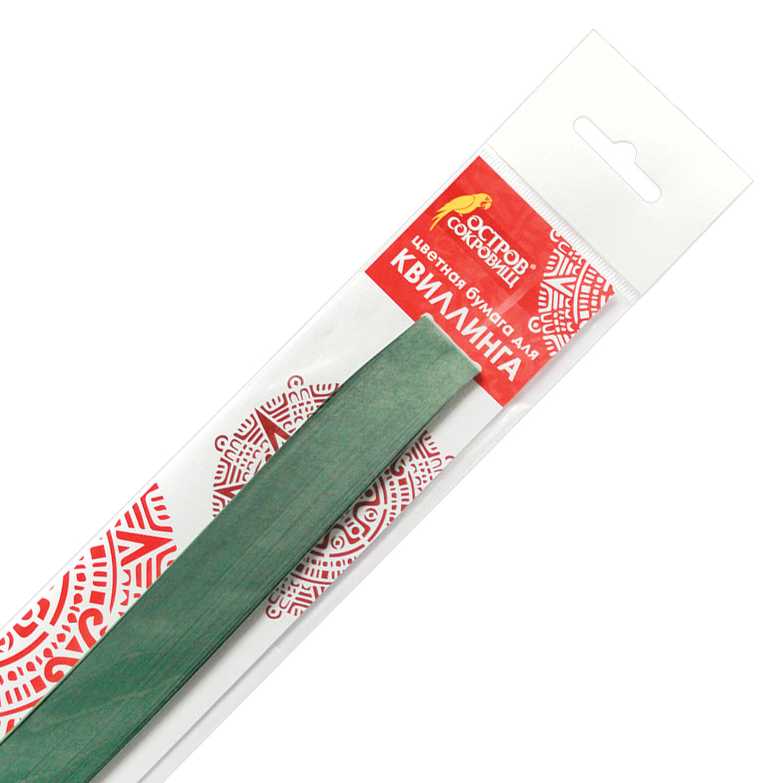 """Бумага для квиллинга """"Зеленая пихта"""", 125 полос, 5х300 мм, 130 г/м2, ОСТРОВ СОКРОВИЩ, 128774"""