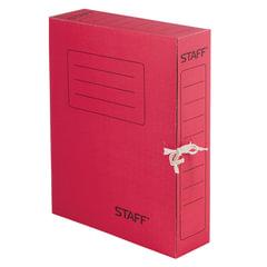 Папка для бумаг с завязками А4 (325х250 мм), 75 мм, до 700 листов, микрогофрокартон, КРАСНАЯ, STAFF, 128872