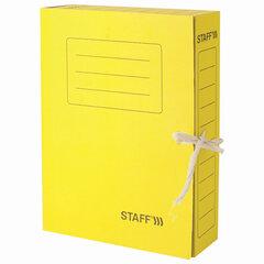 Папка архивная с завязками А4 (325х250 мм), 75 мм, до 700 листов, микрогофрокартон, ЖЕЛТАЯ, STAFF, 128873