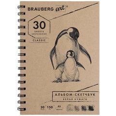 """Скетчбук, белая бумага 150 г/м2, 148х210 мм, 30 л., гребень, BRAUBERG ART """"CLASSIC"""", 128950"""