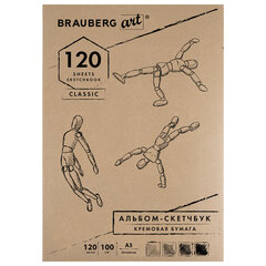 "Скетчбук, слоновая кость 100 г/м2, 297х420 мм, 120 л., прошивка, BRAUBERG ART ""CLASSIC"", 128959"