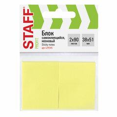 Блок самоклеящийся (стикеры) STAFF, НЕОНОВЫЙ, 38х51 мм, 90 листов, КОМПЛЕКТ 2 штуки, желтый, 129345