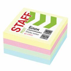 Блок самоклеящийся (стикеры) STAFF PROFIT ПАСТЕЛЬНЫЙ, 76х76 мм, 400 листов, 4 цвета, 129352