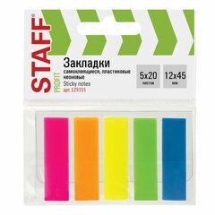 Закладки клейкие STAFF, НЕОНОВЫЕ, 45х12 мм, 5 цветов х 20 листов, на пластиковом основании, 129355