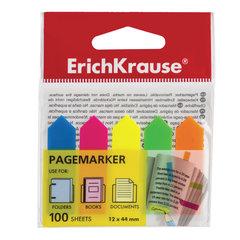 """Закладки клейкие ERICH KRAUSE """"Neon Arrows"""", 44х12 мм, 5 цветов х 20 листов, в пластиковой книжке, 31178"""