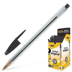 """Ручка шариковая BIC """"Cristal"""", ЧЕРНАЯ, корпус прозрачный, узел 1 мм, линия письма 0,32 мм, 847897"""