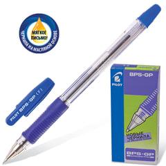 """Ручка шариковая масляная с грипом PILOT """"BPS-GP"""", СИНЯЯ, корпус прозрачный, узел 0,7 мм, линия письма 0,32 мм, BPS-GP-F"""