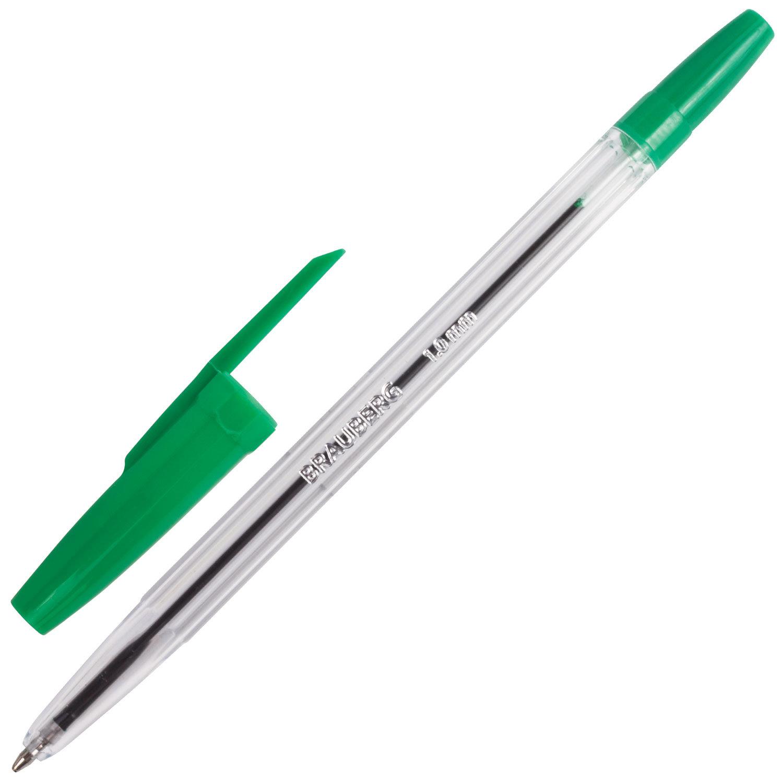 """Ручка шариковая BRAUBERG """"Line"""", ЗЕЛЕНАЯ, корпус прозрачный, узел 1 мм, линия письма 0,5 мм, 141342"""