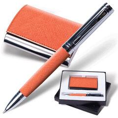 """Набор GALANT """"Prestige Collection"""": ручка, визитница, оранжевый, """"фактурная кожа"""", подарочная коробка"""