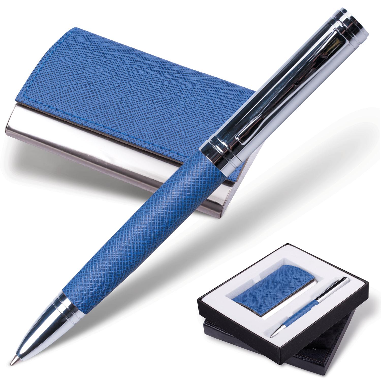 """Набор GALANT """"Prestige Collection"""": ручка, визитница, синий, """"фактурная кожа"""", подарочная коробка, 141376"""