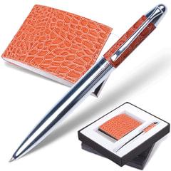 """Набор GALANT """"Prestige Collection"""": ручка, визитница, коричневый, """"кожа крокодила"""", подарочная коробка, 141378"""