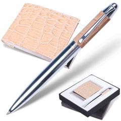 """Набор GALANT """"Prestige Collection"""": ручка, визитница, бежевый, """"кожа крокодила"""", подарочная коробка"""