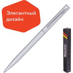 """Ручка бизнес-класса шариковая BRAUBERG """"Delicate Silver"""", корпус серебристый, узел 1 мм, линия письма 0,7 мм, синяя, 141401"""