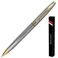 """Ручка подарочная шариковая BRAUBERG """"De Luxe Silver"""", корпус серебристый, узел 1 мм, линия письма 0,7 мм, синяя, 141414"""