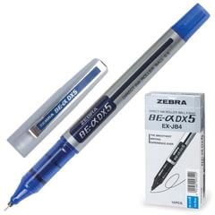 """Ручка-роллер ZEBRA """"Zeb-Roller DX5"""", корпус серебристый, узел 0,5 мм, линия 0,3 мм, синяя"""