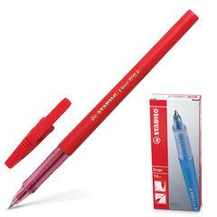 """Ручка шариковая STABILO """"Liner"""", КРАСНАЯ, корпус красный, узел 0,7 мм, линия письма 0,3 мм, 808/40"""