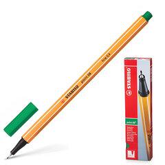 """Ручка капиллярная (линер) STABILO """"Point"""", ЗЕЛЕНАЯ, корпус оранжевый, линия письма 0,4 мм, 88/36"""