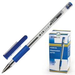 Ручка шариковая с грипом BEIFA (Бэйфа), СИНЯЯ, корпус прозрачный, узел 0,7 мм, линия письма 0,5 мм, AA999-BL