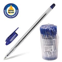 """Ручка шариковая масляная СТАММ """"VeGa"""", СИНЯЯ, корпус прозрачный, узел 1 мм, линия письма 0,7 мм, РШ101"""