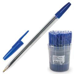 """Ручка шариковая СТАММ """"Оптима"""", СИНЯЯ, корпус прозрачный, узел 1,2 мм, линия письма 1 мм, РО01"""