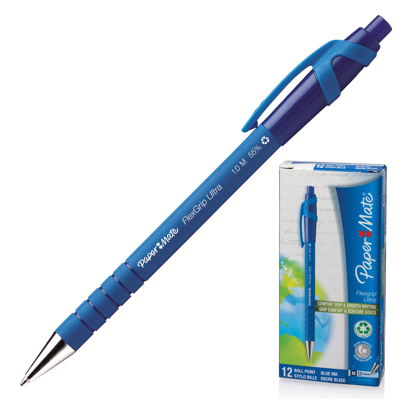 """Ручка шариковая автоматическая сгрипом PAPER MATE """"Flexgrip Ultra RT"""", СИНЯЯ, soft-touch, узел 1,2 мм, линия письма 1 мм, S0190433"""