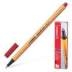 """Ручка капиллярная (линер) STABILO """"Point 88"""", ТЕМНО-КРАСНАЯ, корпус оранжевый, линия письма 0,4 мм, 88/50"""