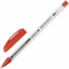 """Ручка шариковая масляная BRAUBERG """"Rite-Oil"""", КРАСНАЯ, корпус прозрачный, узел 0,7 мм, линия письма 0,35 мм, 142148"""