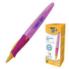 """Ручка шариковая с грипом BIC """"Kids Twist"""", СИНЯЯ, для детей, корпус розовый, узел 1 мм, линия письма 0,32 мм, 918458"""