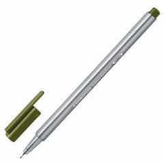 Ручка капиллярная STAEDTLER (Германия), трехгранная, толщина письма 0,3 мм, оливковая