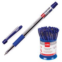 """Ручка шариковая масляная с грипом CELLO """"Slimo Grip"""", СИНЯЯ, корпус прозрачный, узел 0,7 мм, линия письма 0,5 мм, 305092020"""