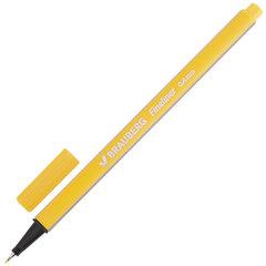 """Ручка капиллярная (линер) BRAUBERG """"Aero"""", ЖЕЛТАЯ, трехгранная, металлический наконечник, линия письма 0,4 мм, 142248"""