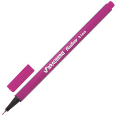 """Ручка капиллярная (линер) BRAUBERG """"Aero"""", РОЗОВАЯ, трехгранная, металлический наконечник, линия письма 0,4 мм, 142256"""