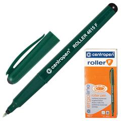 Ручка-роллер CENTROPEN, ЧЕРНАЯ, трехгранная, корпус зеленый, узел 0,5 мм, линия письма 0,3 мм, 4615