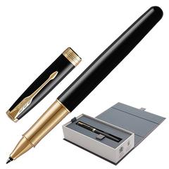 """Ручка-роллер PARKER """"Sonnet Lacquer GT"""", корпус черный лак, латунь, позолоченные детали, 1948080, черная"""