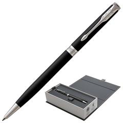 """Ручка шариковая PARKER """"Sonnet Core Matt Black CT Slim"""", тонкая, корпус черный матовый лак, палладиевые детали, черная, 1931525"""