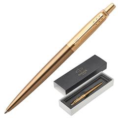 """Ручка подарочная шариковая PARKER """"Jotter Premium West End Gold Brushed GT"""", бронзовый корпус, позолоченные детали, синяя, 1953203"""