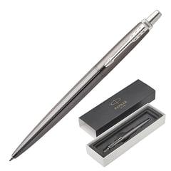 """Ручка шариковая PARKER """"Jotter Premium Oxford Grey Pinstripe CT"""", корпус серый металлик лак с гравировкой, синяя"""