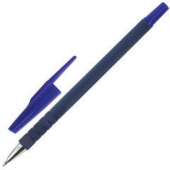 Ручка шариковая STAFF, СИНЯЯ, корпус прорезиненный синий, узел 0,7 мм, линия письма 0,35 мм