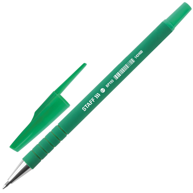 """Ручка шариковая STAFF """"EVERYDAY"""", ЗЕЛЕНАЯ, корпус прорезиненный зеленый, узел 0,7 мм, линия письма 0,35 мм, 142400"""
