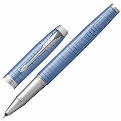 """Ручка-роллер PARKER """"IM Premium Blue CT"""", корпус голубой, анодированный алюминий с гравировкой, хром, 1931690, черная"""