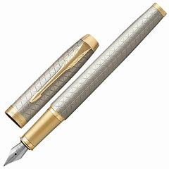 """Ручка перьевая PARKER """"IM Premium Warm Silver GT"""", корпус серебристый, анодированный алюминий, позолоченные детали, 1931684, синяя"""