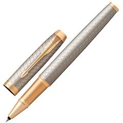 """Ручка-роллер подарочная PARKER """"IM Premium Warm Silver GT, серебристый корпус с гравировкой, позолоченные детали, черная, 1931686"""