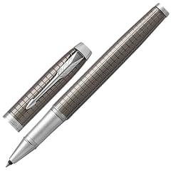 """Ручка-роллер подарочная PARKER """"IM Premium Dark Espresso Chiselled CT"""", лак кофейного цвета с гравировкой, хром, черная, 193168"""