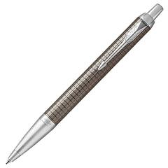 """Ручка шариковая PARKER """"IM Premium Dark Espresso Chiselled CT"""", корпус темно-коричневый, латунь, лак, хром, 1931683, синяя"""