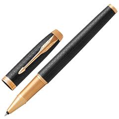"""Ручка-роллер PARKER """"IM Premium Black GT"""", корпус черный, анодированный алюминий, позолоченные детали, 1931660, черная"""