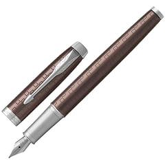 """Ручка перьевая PARKER """"IM Premium Brown CT"""", корпус коричневый, анодированный алюминий с гравировкой, хром, 1931676, синяя"""