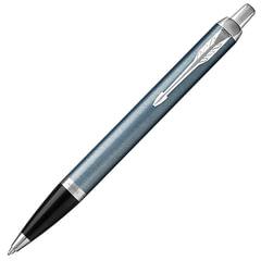 """Ручка шариковая PARKER """"IM Core Light Blue Grey CT"""", корпус серо-голубой лак, хромированные детали, синяя, 1931669"""