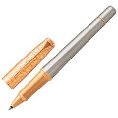 """Ручка-роллер PARKER """"Urban Premium Aureate Powder GT"""", серебристый анодированный алюминий, позолоченные детали, черная, 1931574"""