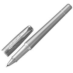 """Ручка-роллер PARKER """"Urban Premium Silvered Powder CT"""", латунь с серым PVD-напылением, хромированные детали, черная, 1931586"""