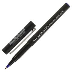 """Ручка-роллер PENTEL (Япония) """"Document Pen"""", СИНЯЯ, корпус черный, узел 0,5 мм, линия письма 0,25 мм"""